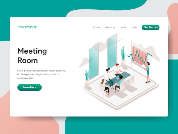 Illustration isométrique de salle de réunion. page de destination Vecteur Premium