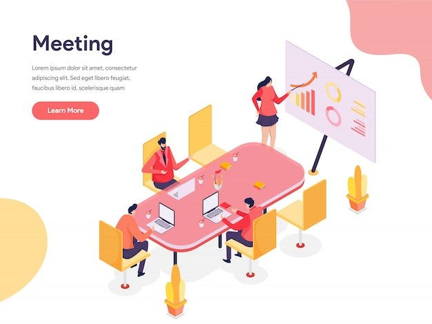 Illustration isométrique de salle de réunion Vecteur Premium