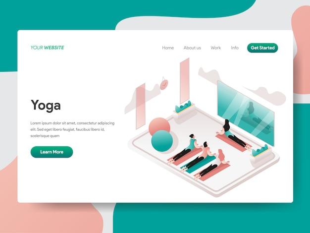 Illustration isométrique de salle de yoga et de méditation. page de destination Vecteur Premium
