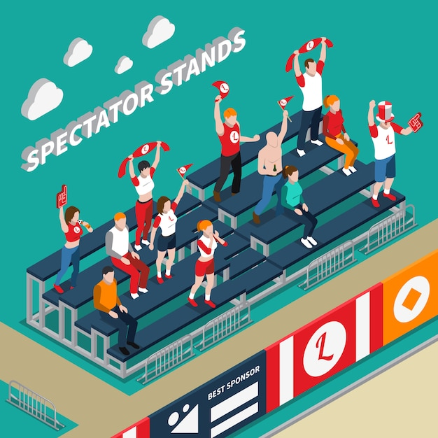Illustration isométrique des stands de spectateurs avec ventilateurs Vecteur gratuit