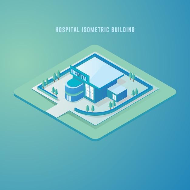 Illustration isométrique de vecteur représentant la construction de l'hôpital Vecteur Premium