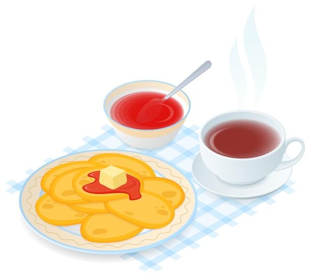 Illustration d'isométrique vector plate de plaque à crêpes, confiture, tasse de thé. Vecteur Premium