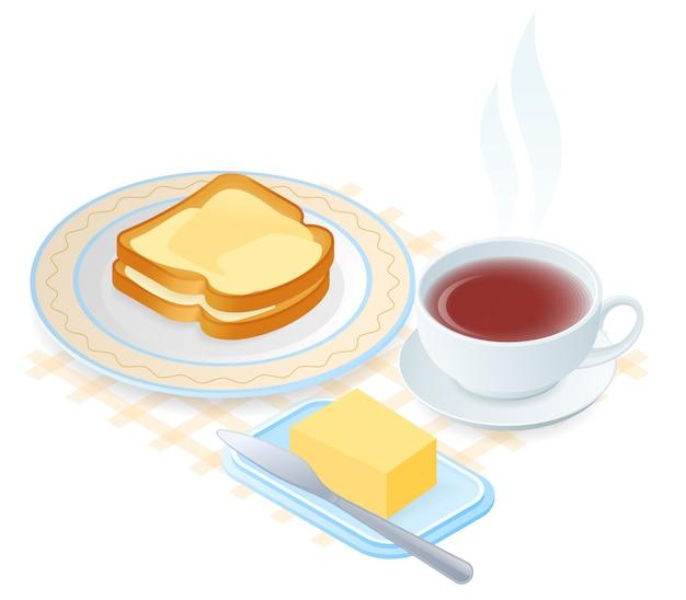 Illustration isométrique vectorielle plane de plaque avec des tranches de pain et beurre, tasse de thé. Vecteur Premium