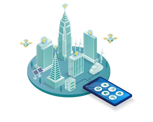 Illustration Isométrique De La Ville Intelligente Vecteur Premium
