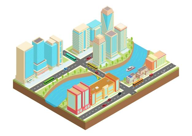 Illustration Isométrique D'une Ville Avec Une Rivière, Des Voitures, Des Yachts Et Des Bâtiments Et Maisons Urbains. Vecteur Premium