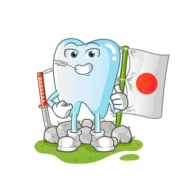 Illustration Japonaise De La Dent Vecteur Premium