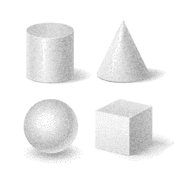 Illustration De Jeu De Formes De Base De Cube, Cylindre, Sphère Et Cône Avec Texture Granuleuse En Demi-teinte, Solides Pointillés Géométriques Sur Fond Blanc Vecteur Premium