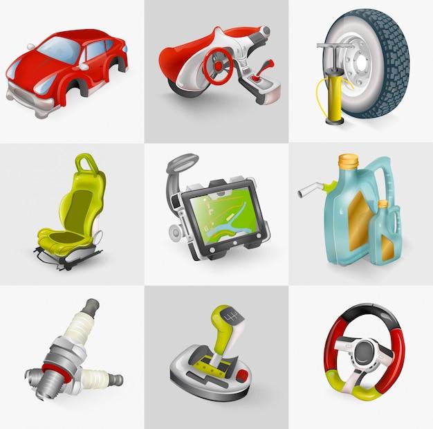 Illustration De Jeu D'icônes D'accessoires De Voiture Vecteur Premium