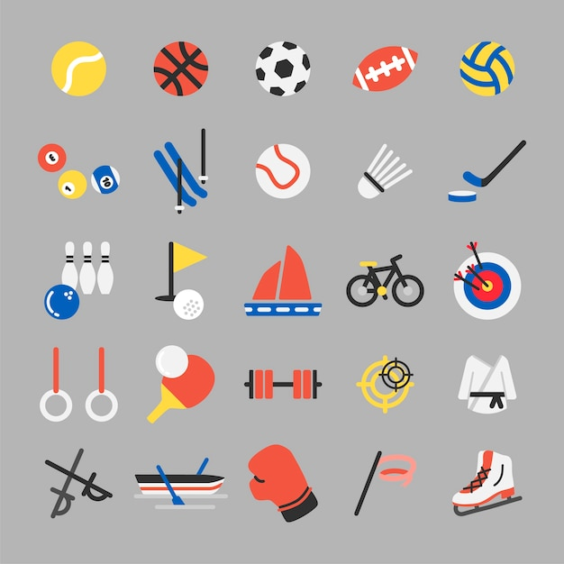 Illustration jeu d'icônes de sport Vecteur gratuit