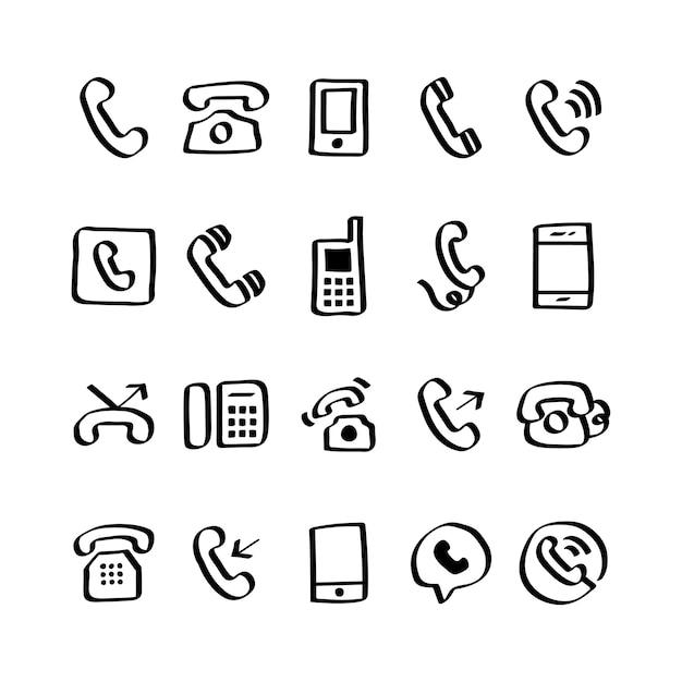 Illustration De Jeu D'icônes De Téléphone Vecteur gratuit