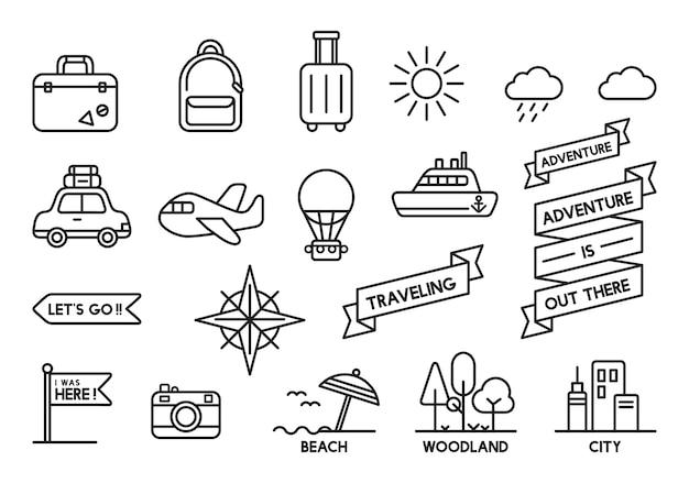Illustration de jeu d'icônes de voyage Vecteur gratuit