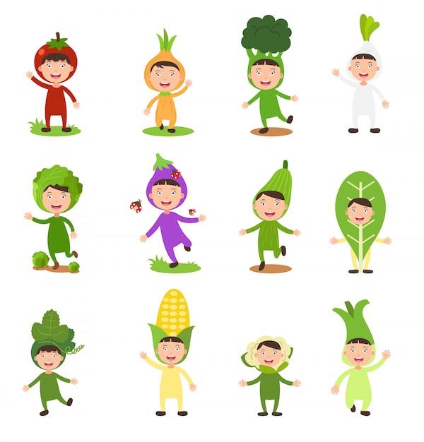Illustration De Jeu Isolé Costumes Légumes Enfants Sur Fond Blanc Vecteur Premium