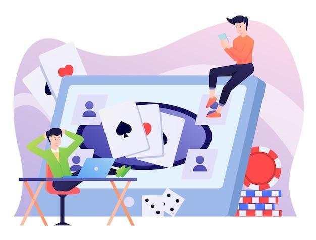 Illustration De Jeu En Ligne, Jouer Au Poker Et Domino. Vecteur Premium