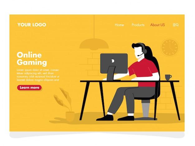 Illustration de jeu en ligne pour la page de destination Vecteur Premium