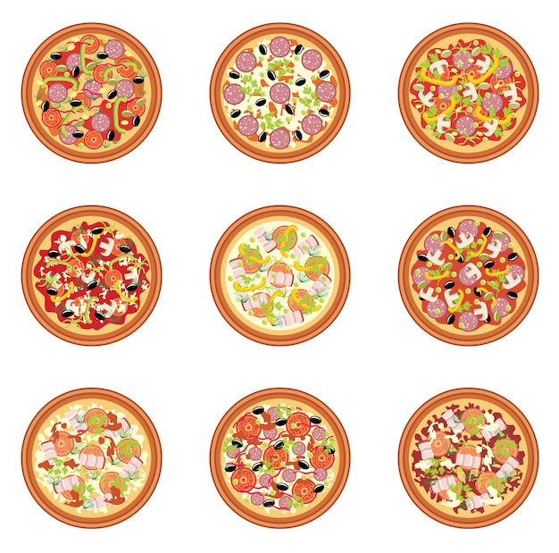 Illustration De Jeu De Pizza Vecteur Premium