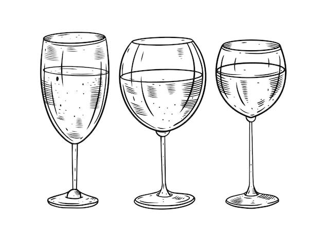 Illustration De Jeu De Verres à Vin Dessinés à La Main Vecteur Premium