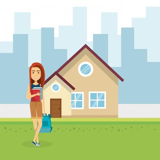 Illustration de la jeune femme à l'extérieur de la maison Vecteur gratuit