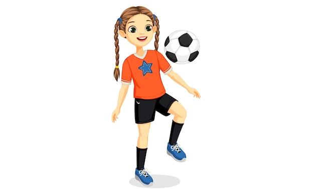 Illustration De La Jeune Fille De Joueur De Football Vecteur Premium