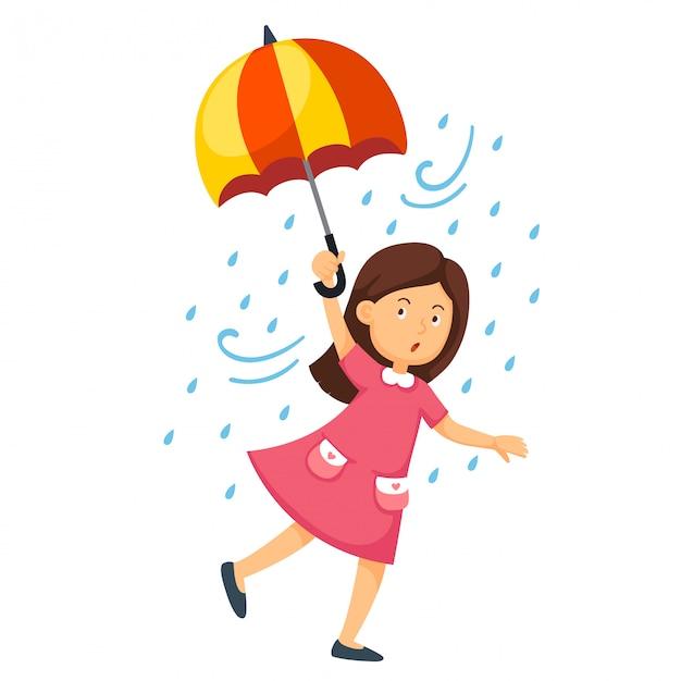 Illustration d'une jeune fille avec un parapluie Vecteur Premium
