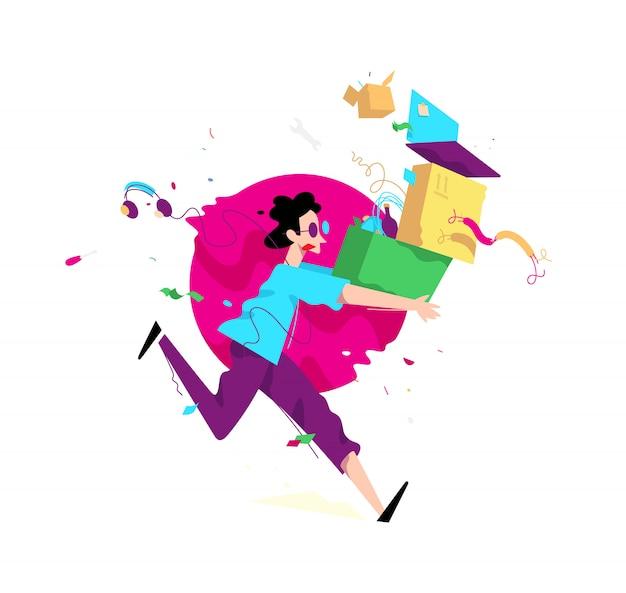 Illustration d'un jeune homme avec des boîtes Vecteur Premium