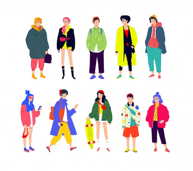 Illustration D'un Jeune à La Mode. Filles Et Garçons Dans Des Vêtements Modernes à La Mode. Vecteur Premium