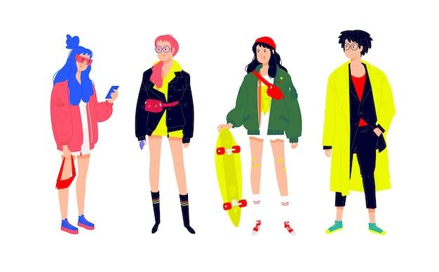 Illustration D'un Jeune Peuple à La Mode. Filles Et Garçons Dans Des Vêtements Modernes à La Mode. Vecteur Premium