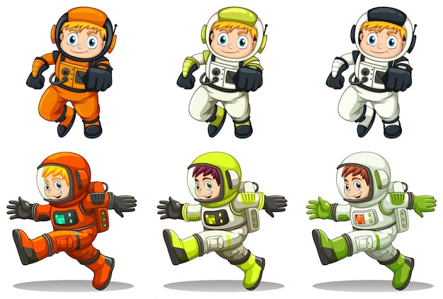 Illustration des jeunes astronautes sur fond blanc Vecteur gratuit