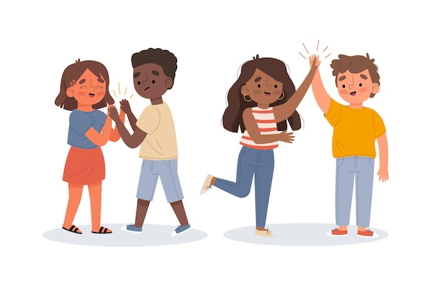 Illustration De Jeunes Collectionnant Cinq Personnes Vecteur gratuit