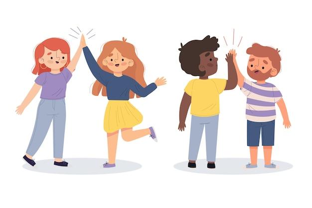 Illustration De Jeunes Donnant Cinq Haut Ensemble Vecteur gratuit