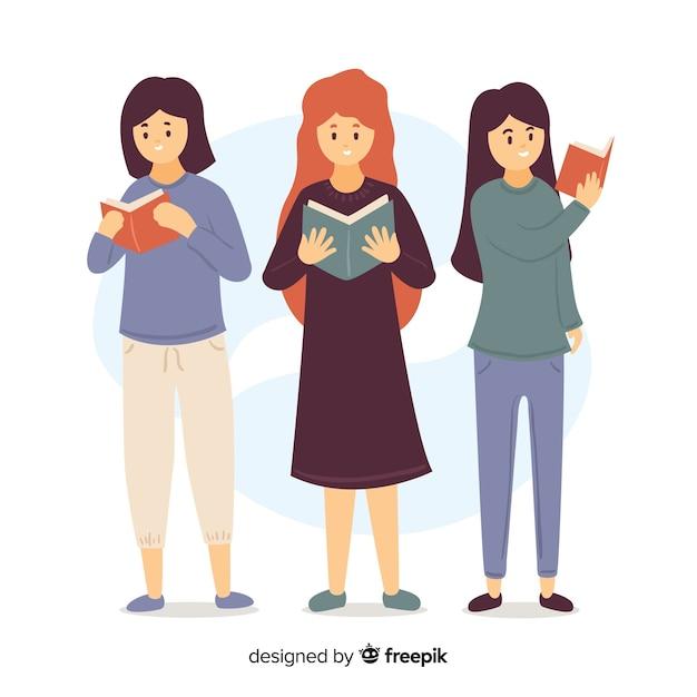 Illustration de jeunes filles lisant leurs livres Vecteur gratuit