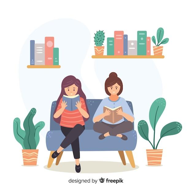 Illustration de jeunes lisant Vecteur gratuit
