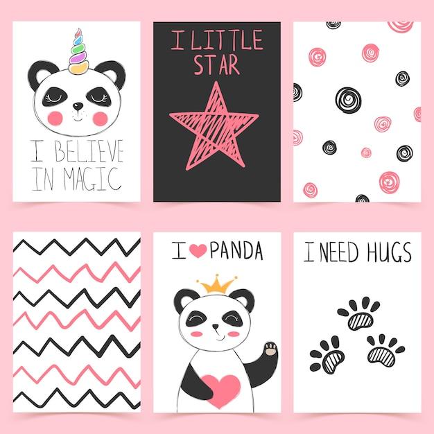 Illustration de jolie baie de panda licorne Vecteur Premium