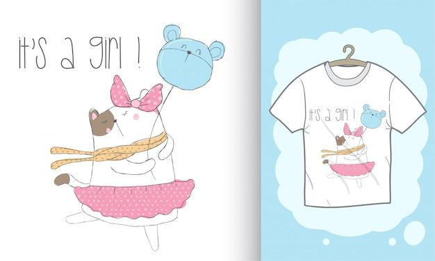 Illustration de jolie chaton dessinée à la main pour un t-shirt imprimé Vecteur Premium