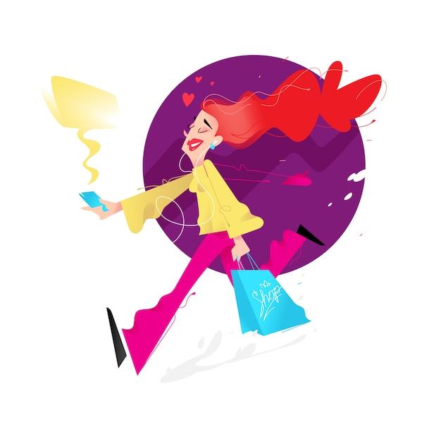 Illustration d'une jolie fille avec des courses Vecteur Premium