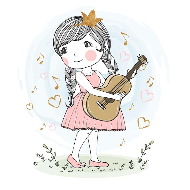 Illustration De Jolie Fille Jouant De La Guitare Vecteur Premium