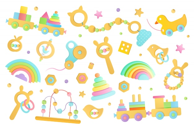 Illustration de jouets en bois pour bébés et enfants en bas âge Vecteur Premium