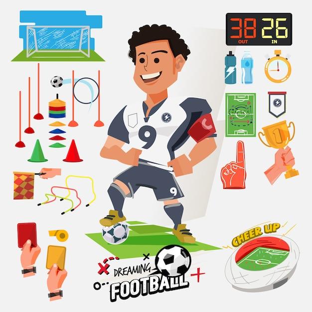Illustration De Joueur De Football Vecteur Premium