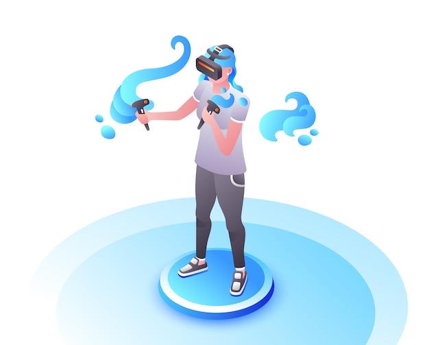 Illustration de joueur vidéo de fille ou femme à lunettes vr avec contrôleurs de manette de jeu. Vecteur gratuit