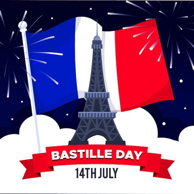 Illustration De Jour Bastille Design Plat Vecteur gratuit