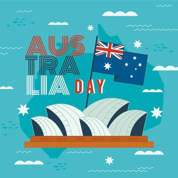 Illustration De Jour De Conception Plate Australie Avec L'opéra De Sydney Vecteur gratuit