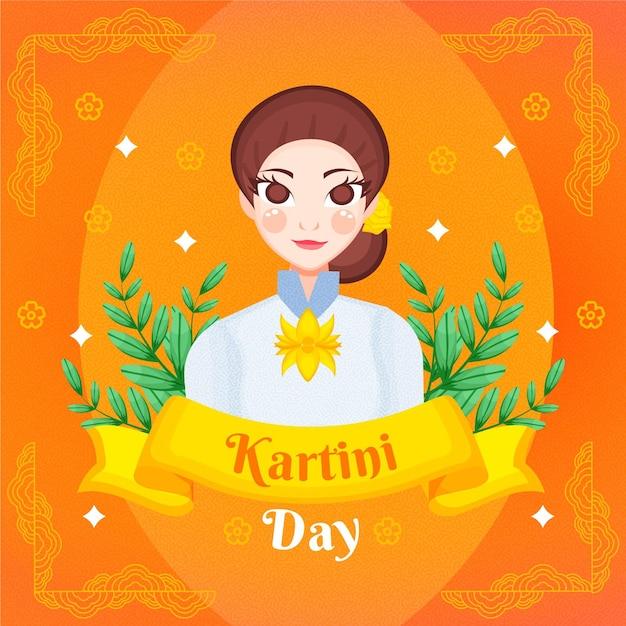 Illustration De Jour Kartini Dessiné à La Main Vecteur Premium