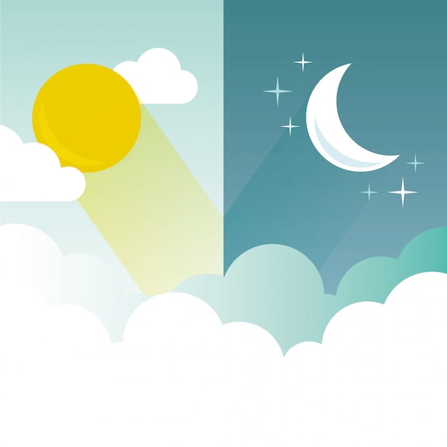 Illustration de jour et de nuit Vecteur Premium