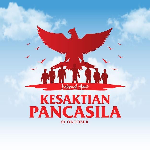 Illustration De Jour De Pancasila De Vacances Indonésiennes. Vecteur Premium