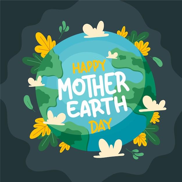 Illustration De Jour De La Terre Mère Dessiné à La Main Vecteur gratuit
