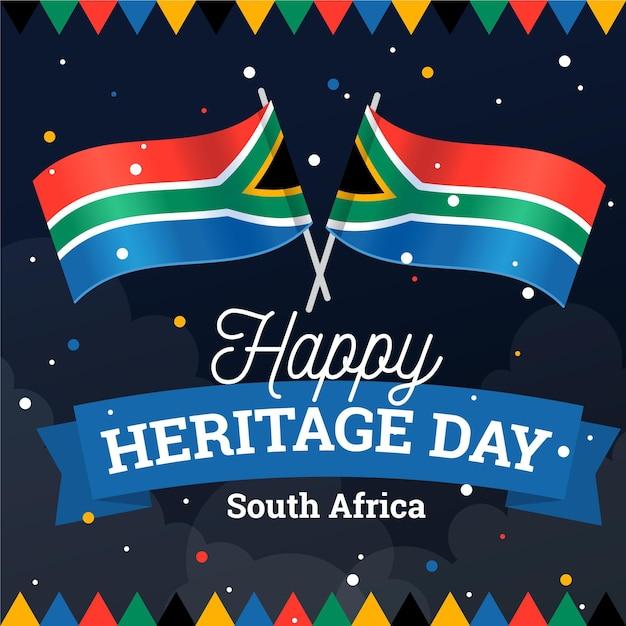 Illustration De La Journée Du Patrimoine Design Plat En Afrique Du Sud Vecteur gratuit