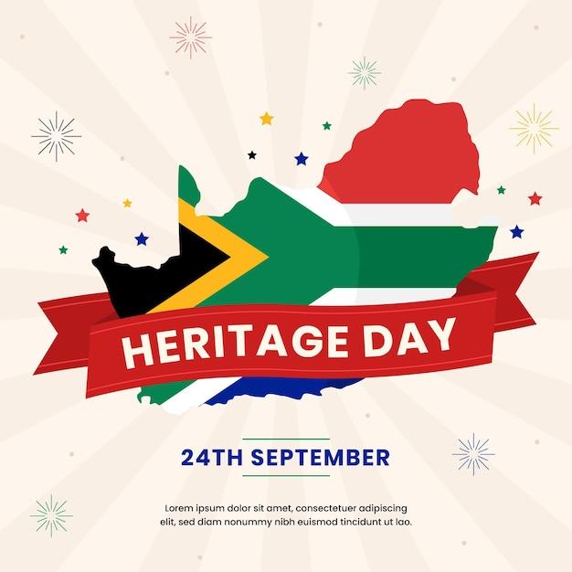 Illustration De La Journée Du Patrimoine Design Plat Avec Drapeau Africain Et Date Vecteur gratuit