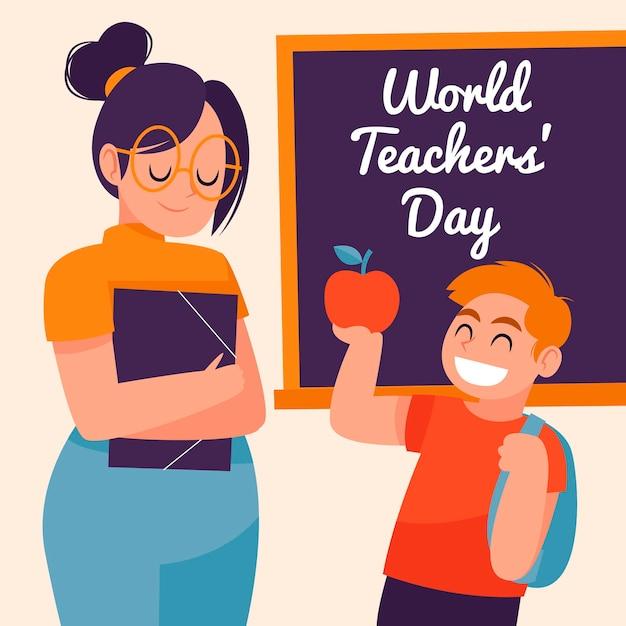 Illustration De La Journée Des Enseignants Dessinés à La Main Heureux Vecteur Premium