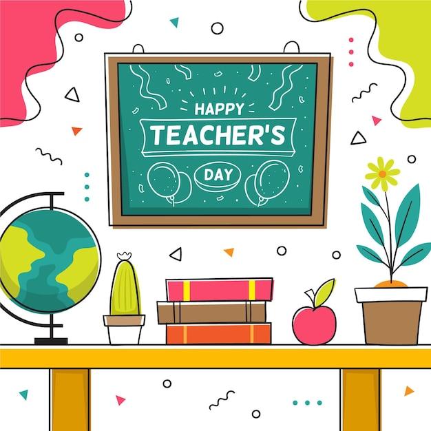Illustration De La Journée Des Enseignants Dessinés à La Main Vecteur Premium