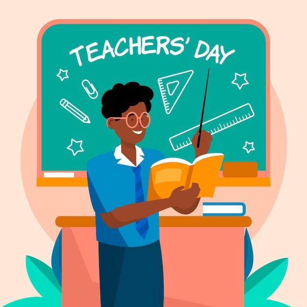 Illustration De La Journée Des Enseignants Plat Vecteur gratuit