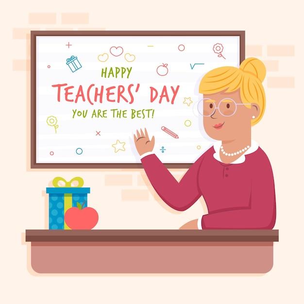 Illustration De La Journée Des Enseignants Plat Vecteur Premium